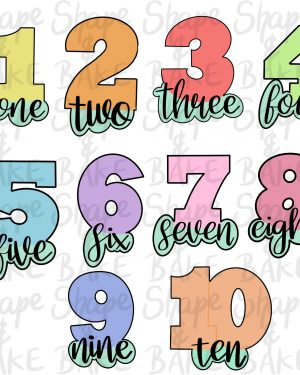 Full number set with wording cookie cutters