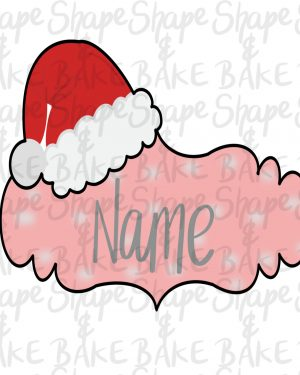 Christmas hat name plaque cookie cutter