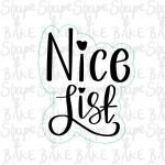 Nice list plaque cookie cutter (outline only)