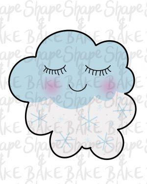 Winter cloud cookie cutter
