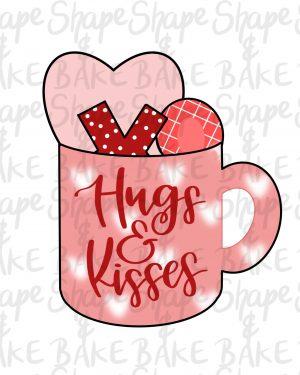 Hugs & kisses mug cookie cutter