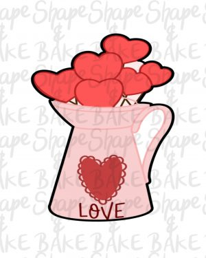 Hearts watering can cookie cutter