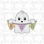 Ghost with a banner cookie cutter