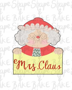 Mrs Claus plaque cookie cutter