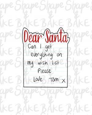Dear santa letter cookie cutter