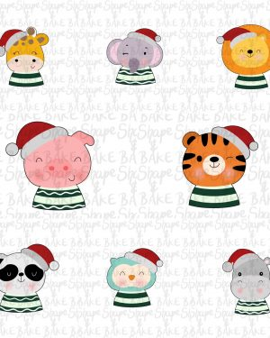Set of 8 christmas animals cookie cutter (8 cutters)